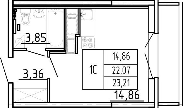 Студия, 25.87 м²