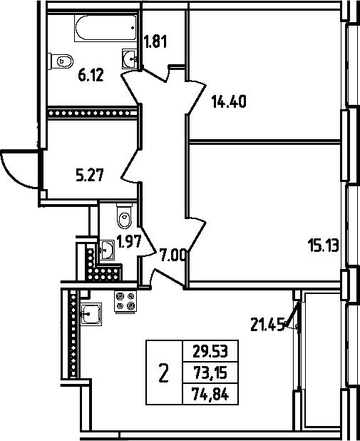 3Е-комнатная, 74.84 м²– 2