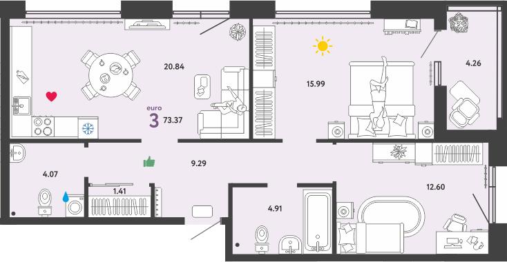 3Е-к.кв, 73.37 м²