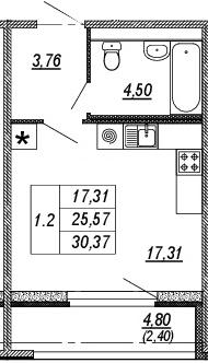 Студия, 25.57 м², от 3 этажа