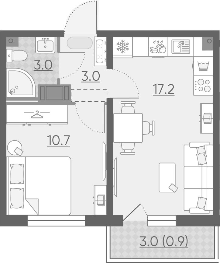 2Е-к.кв, 34.8 м², 9 этаж