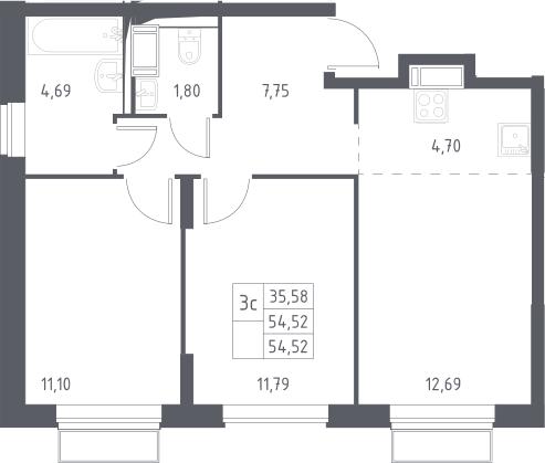 3Е-к.кв, 54.52 м², 22 этаж