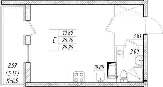 Студия, 31.87 м²