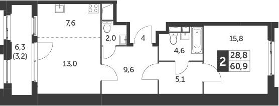 2-к.кв (евро), 64.1 м²