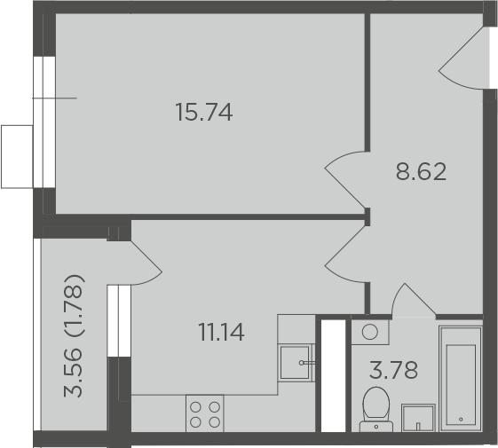 1-комнатная, 41.06 м²– 2