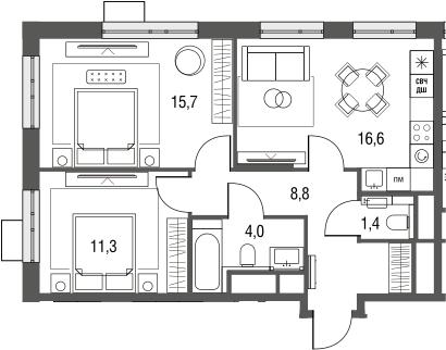 3Е-к.кв, 57.8 м², от 3 этажа