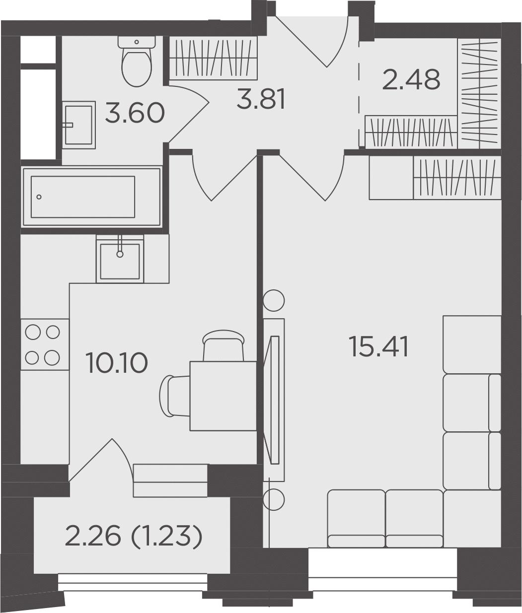1-к.кв, 37.86 м²
