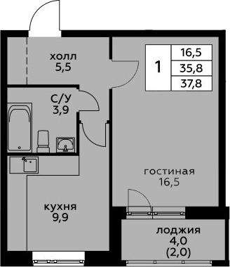 1-комнатная, 37.8 м²– 2
