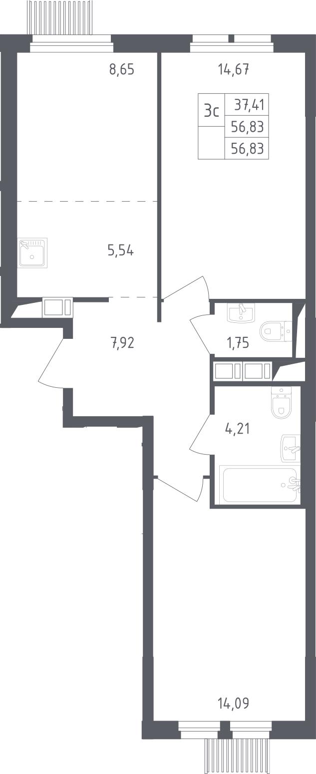 3Е-комнатная, 56.83 м²– 2