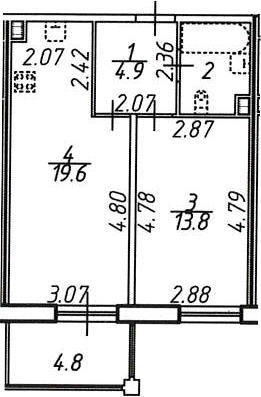 2Е-к.кв, 43.7 м²