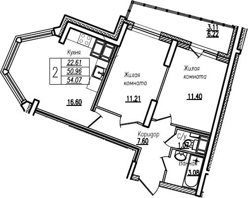 3Е-к.кв, 54.07 м²
