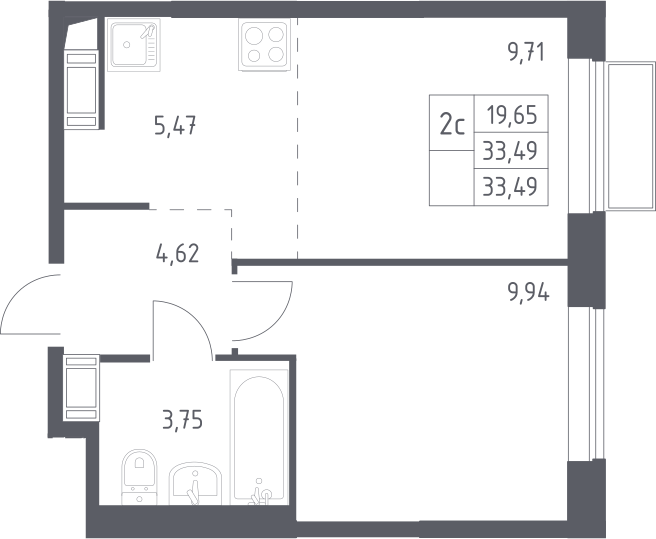 2Е-к.кв, 33.49 м²