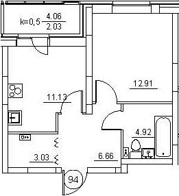 1-к.кв, 42.71 м²