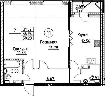 2-к.кв, 58.23 м²
