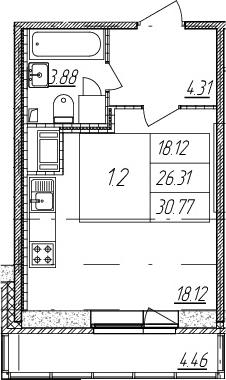 Студия, 26.31 м²