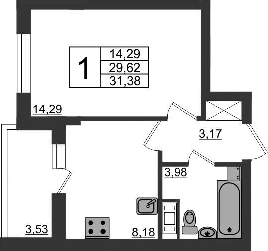 1-к.кв, 29.62 м², 12 этаж