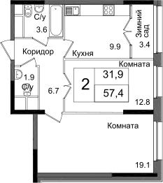 2-к.кв, 57.4 м²
