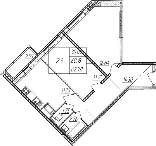 2-к.кв, 60.15 м²