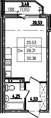 Студия, 32.81 м²