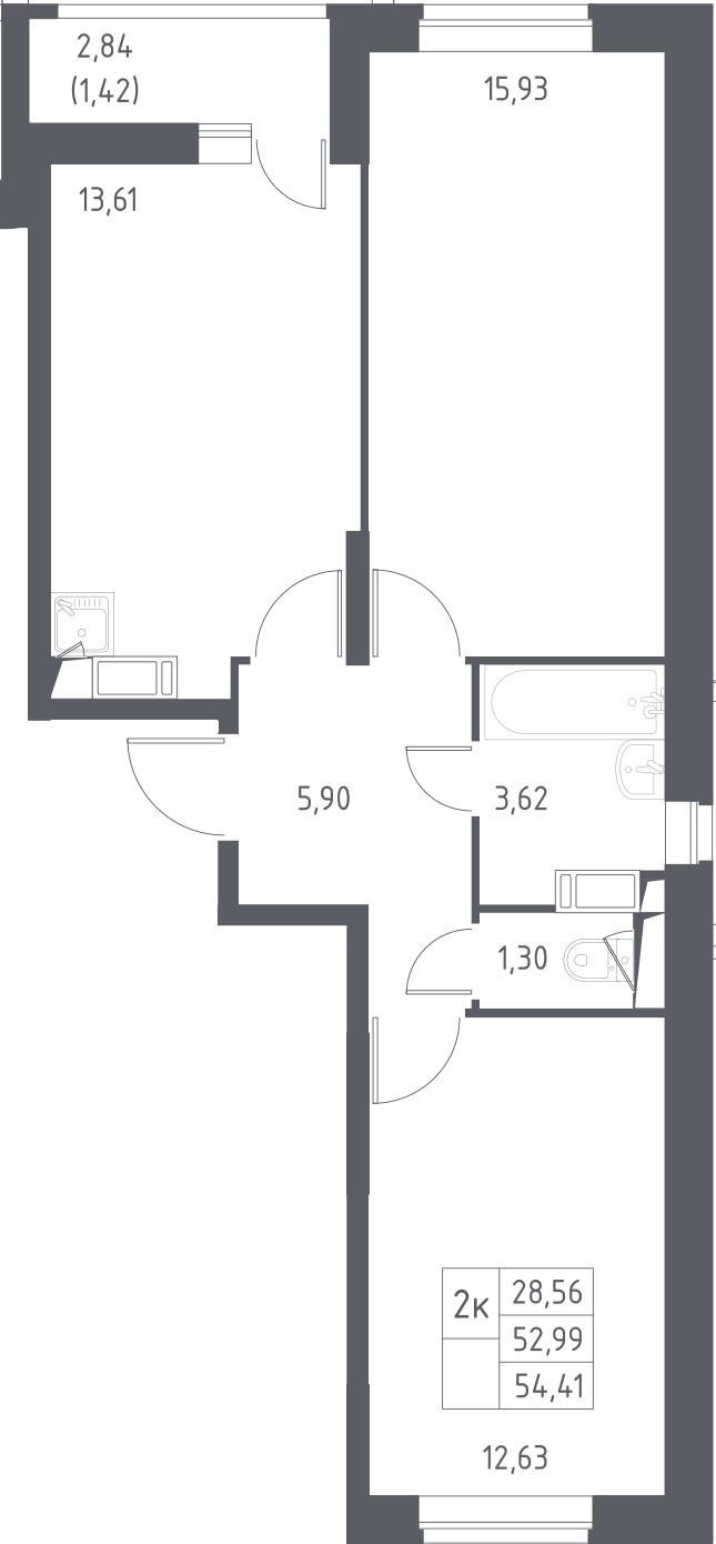2-комнатная, 54.41 м²– 2