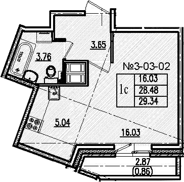 Студия, 29.34 м²– 2