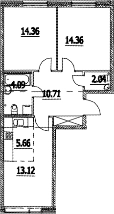 3Е-комнатная квартира, 64.34 м², 2 этаж – Планировка