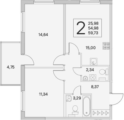 3Е-комнатная, 56.41 м²– 2