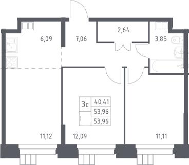 3Е-к.кв, 53.96 м², 12 этаж
