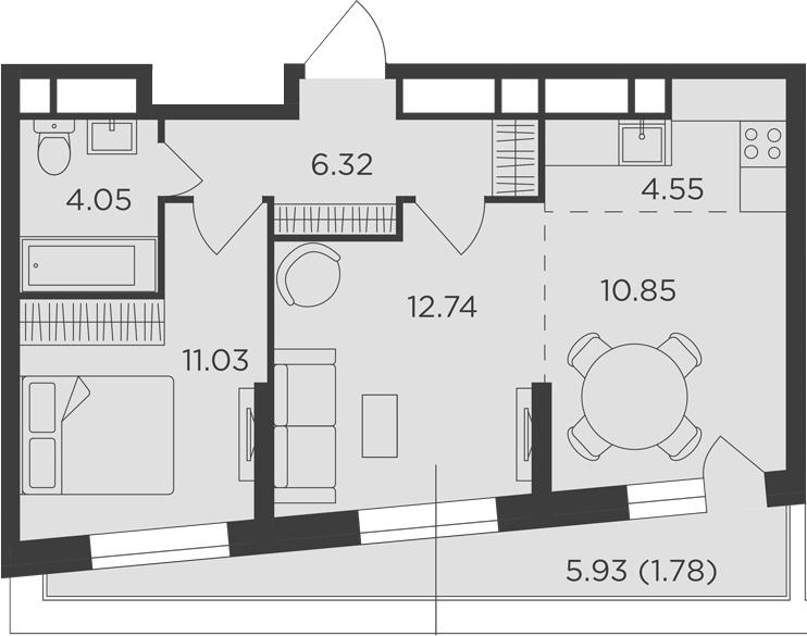 3Е-комнатная, 51.32 м²– 2