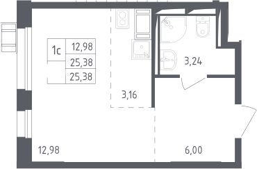 Студия, 25.38 м², 15 этаж