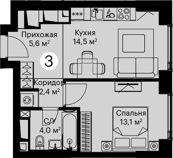 1-к.кв, 39.6 м²