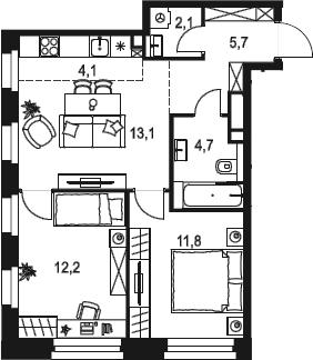 3Е-к.кв, 53.7 м²