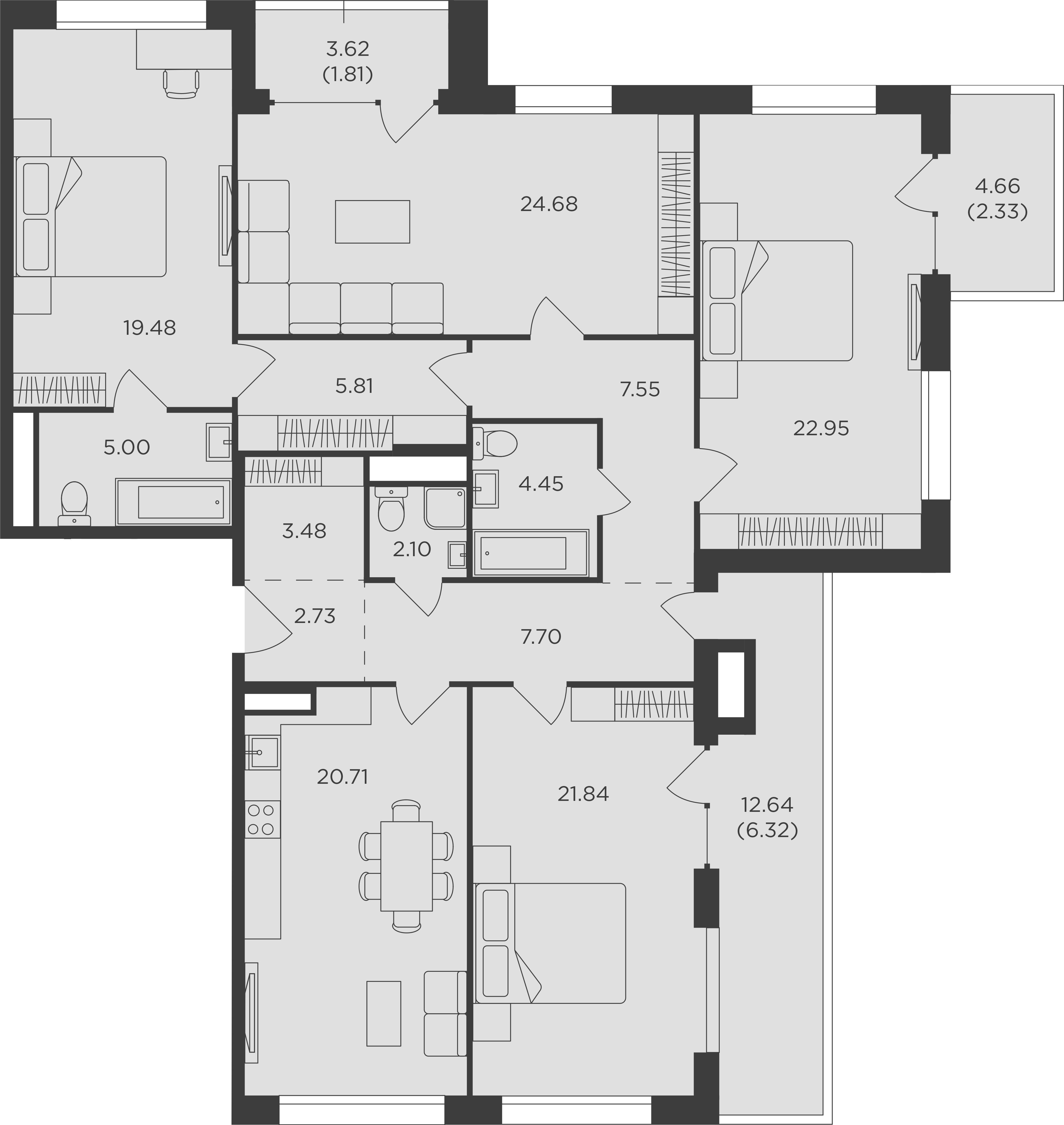 4-к.кв, 158.52 м²