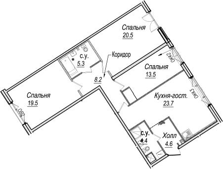 4-к.кв (евро), 99.7 м²