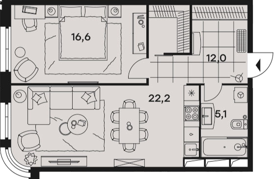 2Е-к.кв, 55.9 м²