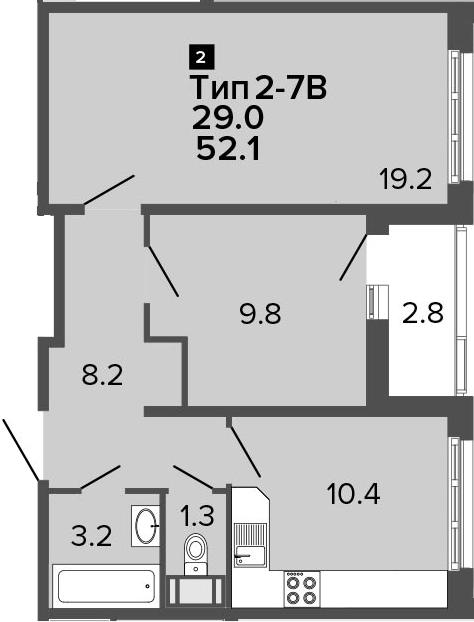 2-к.кв, 52.1 м², от 15 этажа