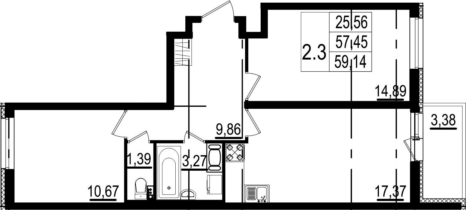 3-к.кв (евро), 60.83 м²