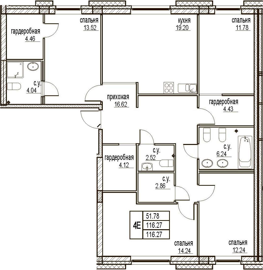 5Е-комнатная, 116.27 м²– 2