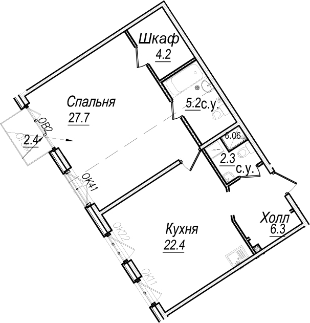 2Е-к.кв, 68.8 м², 6 этаж
