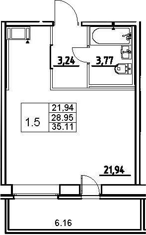 Студия, 28.95 м²