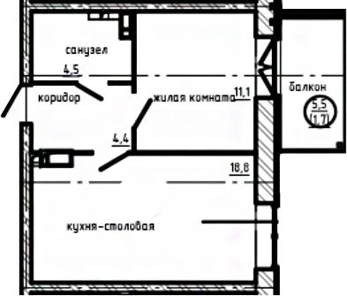 1-к.кв, 40.5 м², 9 этаж