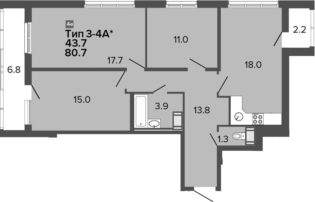 4Е-к.кв, 80.7 м², от 15 этажа