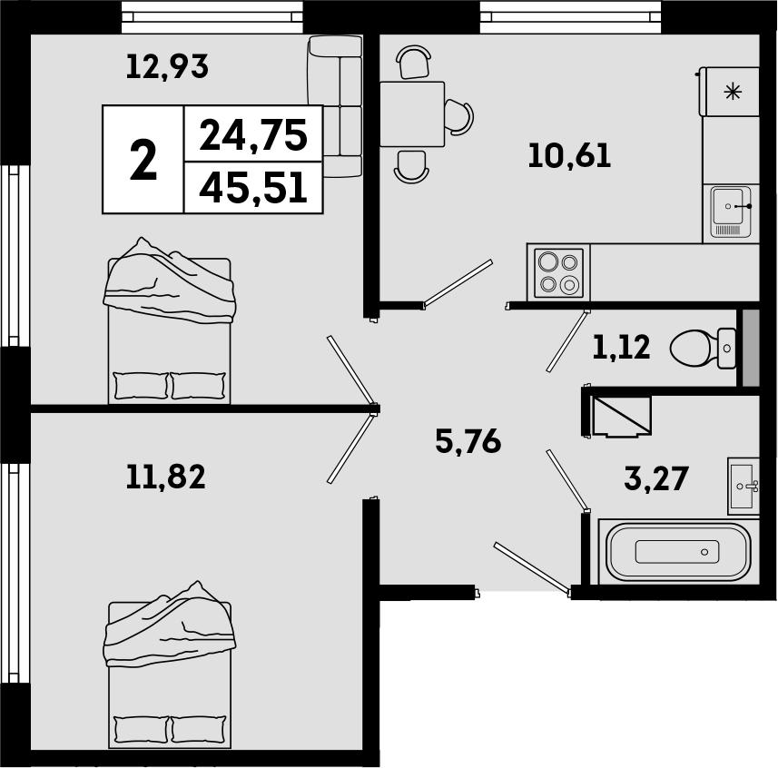 2-к.кв, 45.51 м², 1 этаж