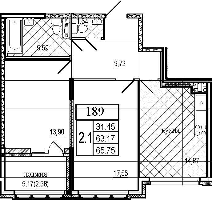 2-к.кв, 65.75 м²