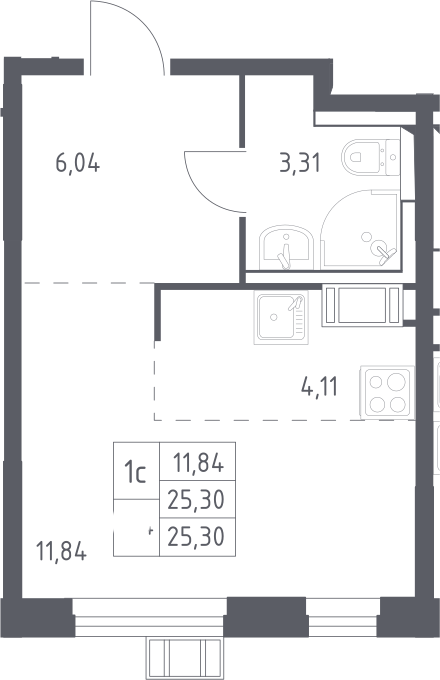 Студия, 25.3 м², 15 этаж – Планировка