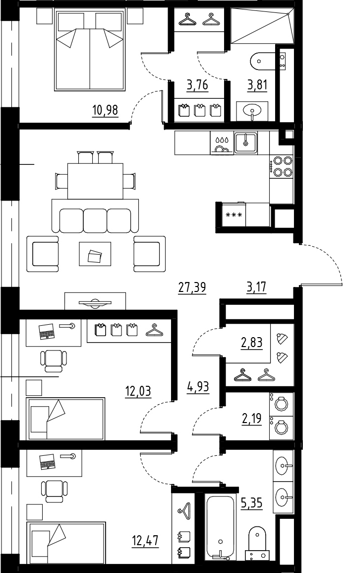 4Е-к.кв, 88.91 м², от 7 этажа