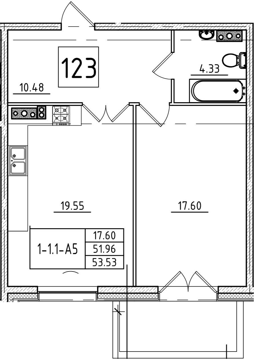 2Е-к.кв, 53.53 м², 6 этаж