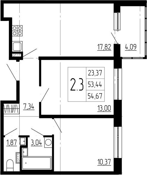 3-к.кв (евро), 57.53 м²