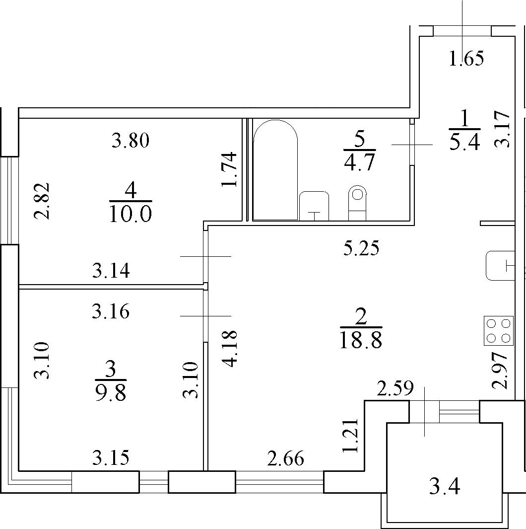 3-к.кв (евро), 52.1 м²