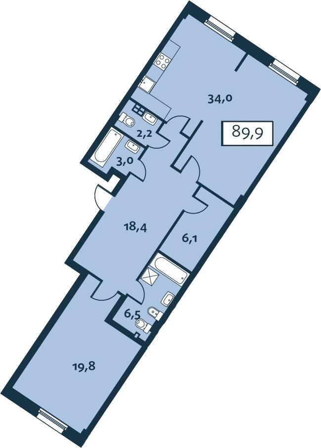 2Е-комнатная, 89.97 м²– 2